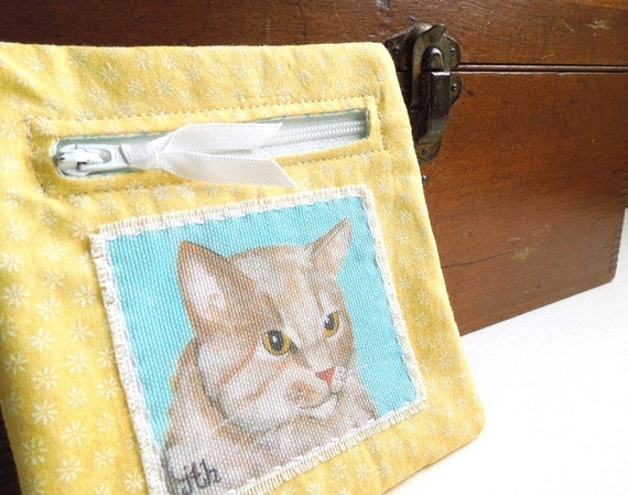 Yellow and Turquoise Cat Zipper Pouch Coin Purse