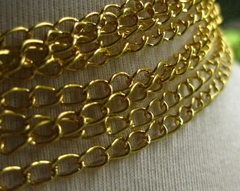 New Old Gold Plated Chain 5mm by 3.5mm 3 Feet (92 cm) open links