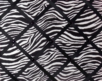 Zebra Print French Memo Board with Your choice of ribbon - French Memory Board - Bulletin Board - FREE Shipping