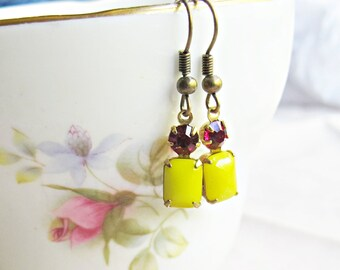 Yellow Pink Earrings, Glam It Up Lemon Sunshine Fuchsia Mallorca, Vintage Glass Jewel Brass Drop Dangle, Rectangle Circle Handmade Gift