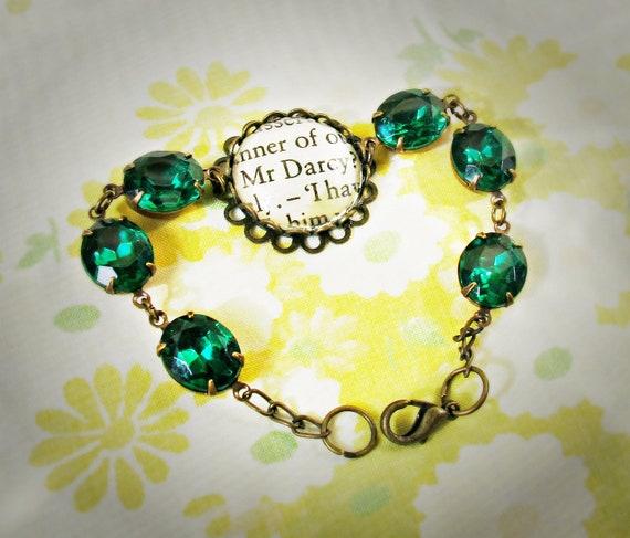 Bracelet. Mr Darcy Glam It Up. Emerald Green Vintage Jewel. Jane Austen Upcycled Text