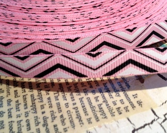 "3 YARDS 3/8"" CHEVRON Print  Grosgrain Ribbon PINK Black and White"
