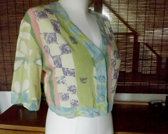 Vintage 90s Pastel watercolor Abstract and floral Crop Top M Free Shipping
