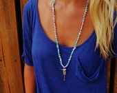 Dove & Key Blue Freshwater Pearl Swarovski Long Necklace