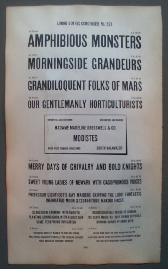 """1906 """"Amphibious Monsters""""  American Line Type Book Page"""