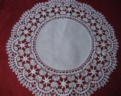 Large White Hand Crocheted Doily or Centerpiece With White Linen Center