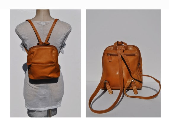 leather backpack vintage brown LEATHER BACKPACK tote rucksack