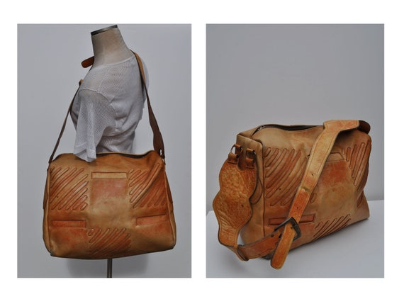 vintage leather CARRY-ON tote shoulder luggage bag overnight duffle duffel