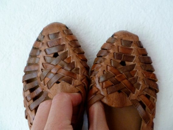 Vintage Woven Leather Sandals Flats Brown Summer Size 6