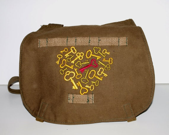 SALE Olive Canvas Military Bag - Key to My Heart - Custom Embroidered Design