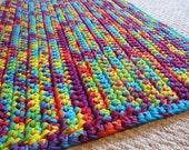 "Rainbow Tie Dye T Shirt Yarn Rug -Rectangle - 30""x 20"" - C87"