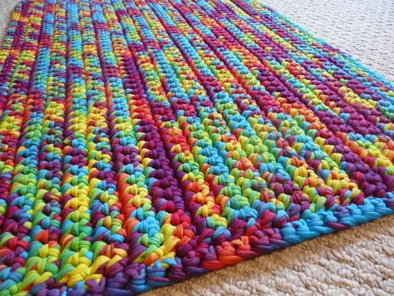 Rainbow Tie Dye T Shirt Yarn Rug Rectangle 30x