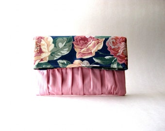 BLACK FRIDAY - Fold Over Floral Pink Clutch, Fold over, handbag, clutch, pouch - Delicada Fold Over Clutch in pink / floral Cotton