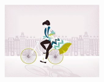 Amsterdam Prints Dutch Art, Bike Cycling Art in city, Lady riding bike Wall art, Amsterdam Cycling illustration, Gift idea girlfriend wife