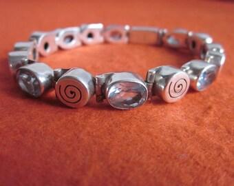 Awesome Chain sterling Silver  blue topaz gemstones Bracelet / Silver handmade jewelry / silver 925