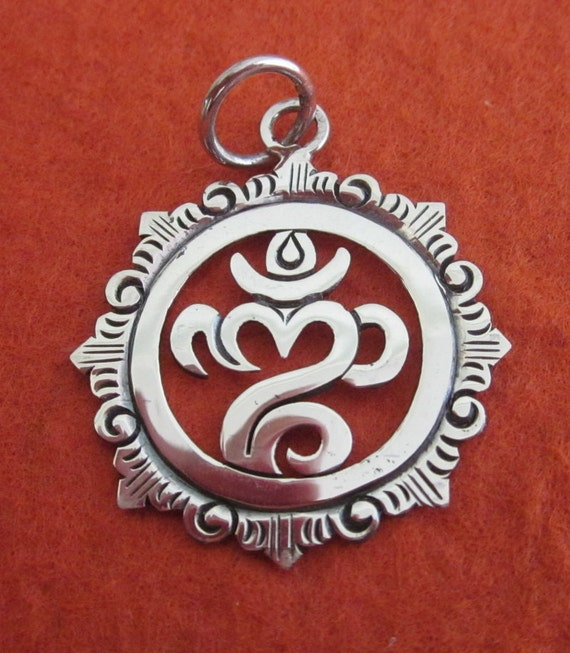 Balinese 925 sterling silver om mantra pendant silver 925 like this item aloadofball Images