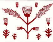 Red Thistle Screen Print Greetings Card