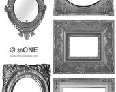Frames - Large Silver Victorian Style - A4 Digital Collage Sheet - For unlimited number of prints - Set1