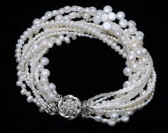 Bridal Pearl Bracelet, Freshwater pearl bracelet