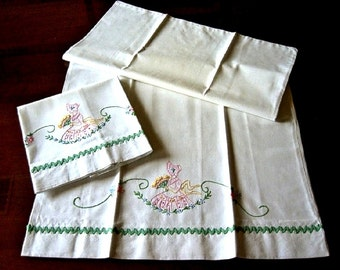 Pillow case pair Two vintage French Knots EMBROIDERED Victorian LASS Southern Belle