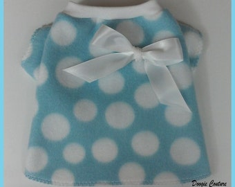 Aqua Dots Fleece Dog T-Shirt Clothes Size XXXS through XXSby Doogie Couture