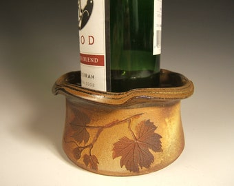 Wine Coaster/Dip Bowl/Candle Holder with grape leaves,eathtones,woodland,cabin