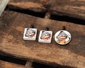Sock Monkeys (RESERVED)- repurposed game piece PENDANTS