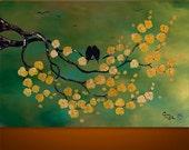 Original Modern Asian Tree Blossom Birds Original Painting Art by Gabriela 36x24