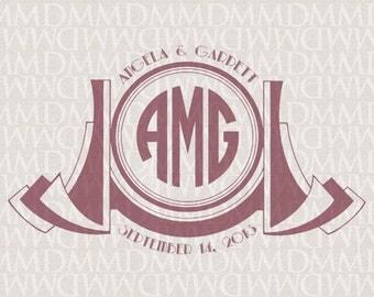 Gatsby 1920s Art Deco Custom Wedding Monogram - Wedding Logo - Wedding Crest