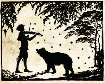 "Papercut Art ""The Fiddle and The Stars"" Music Folk Art - Woodland Whimsical Silhouette - Elegant Nursury Art Vintage Fairy Tale"