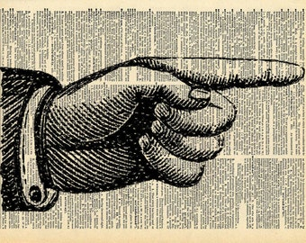 Pointing Finger - Vintage Book Art Print - Victorian Hand Art - Recycled Antique Book Print - Victorian Illustration Circus Steampunk Hand