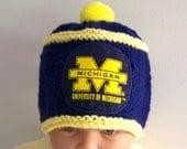 Custom handmade knit  UNIVERSITY of MICHIGAN  baby hat cap beanie 0-12M-cute gift photos Michigan Blue & Yellow Colors