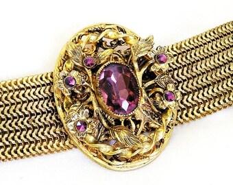 Victorian Revival Amethyst Glass Bracelet