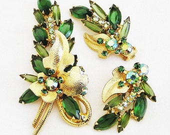 Juliana DeLizza and Elster Green and Gold Demi Parure