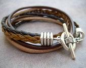 Mens Leather Bracelet,  Four Strand Double Wrap, Mens Bracelet, Mens Jewelry, Mens Gift, Fathers Day, Groomsmen, Mens Gift, Groom