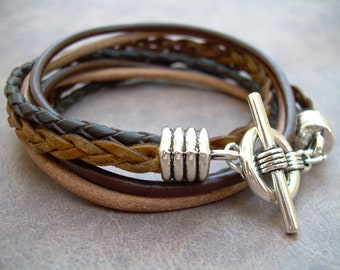 Mens Leather Bracelet,  Four Strand, Double Wrap, Mens Jewelry, Mens Bracelet, Fathers Day, Groomsmen, Leather Bracelet, Mens Gift