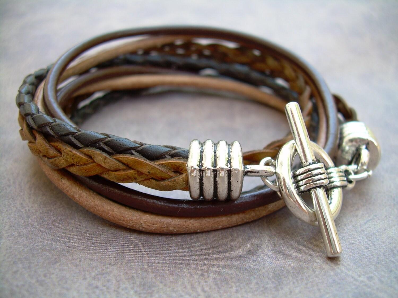 Mens Leather Bracelet Four Strand Double Wrap Mens