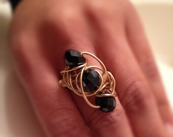 THE QUEENS JEWELS: crystal wire wrapped cocktail ring