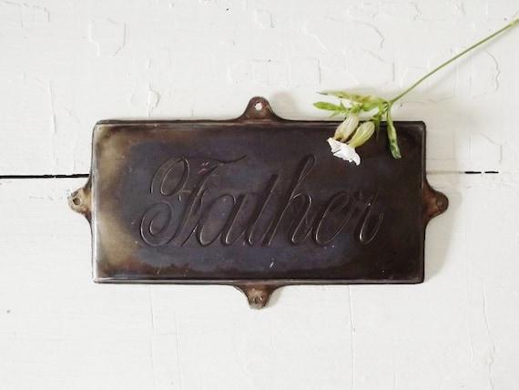 Vintage Coffin Plaque Father