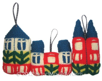 Scandinavian HOUSES Ornaments Pdf Email knit PATTERN