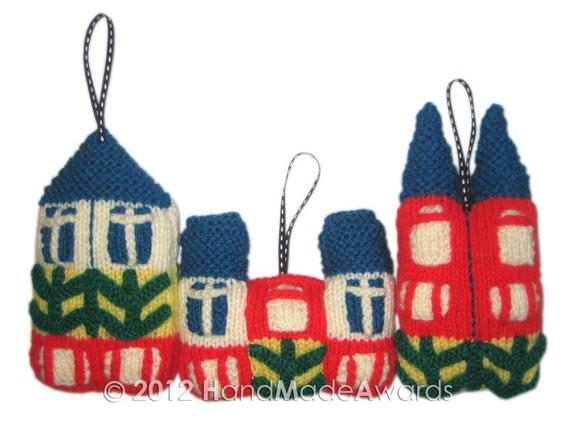 Scandinavian HOUSES Ornaments Pdf Email knit PATTERN