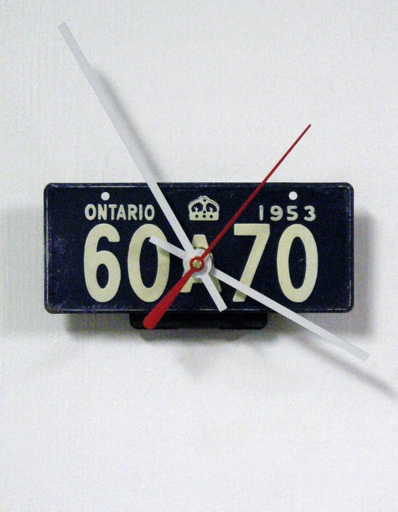 Ontario Wall Clock - 1953 Canada Bicycle License Plate Clock - Bike License Tag Clock - Retro Travel Decor