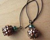 Studded Bling Ball Oxidized Bronze Marquise Shape Earrings by AdoreJules