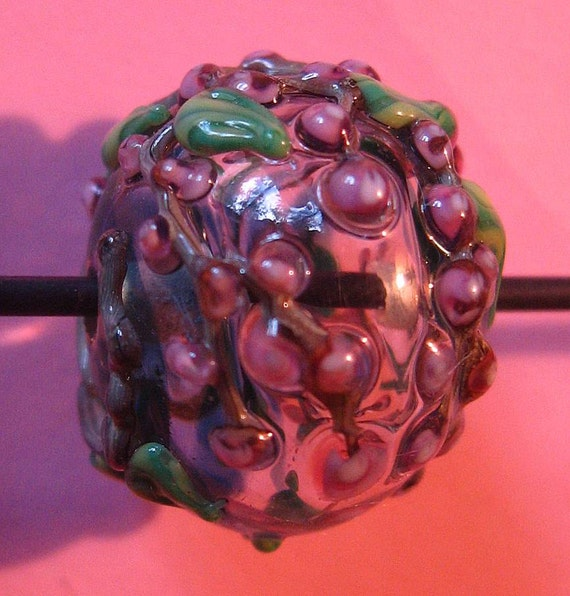 1/2 Price Sale--Skholtglass Cherry Blossom Hollow Bead-- Lampwork focal bead-- Signed