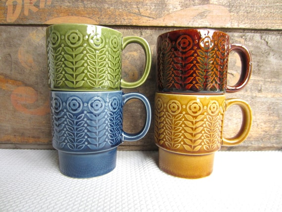 Vintage Stacking Mugs Retro Colors Made in Japan Box Set from JC Penney