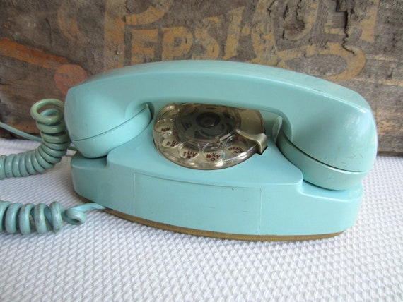 Vintage Turquoise Blue Princess Telephone Western Electric Rotary Phone