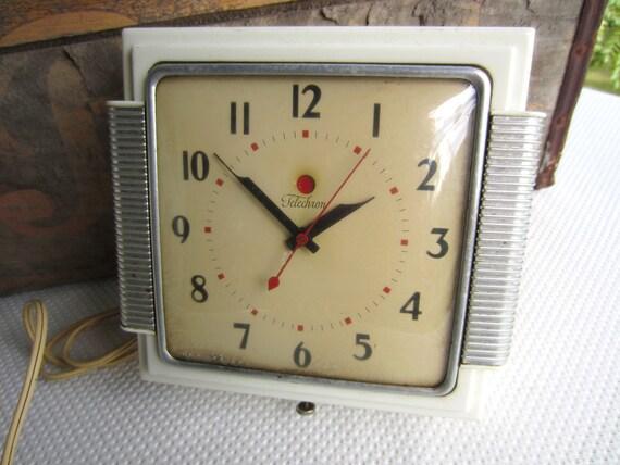 Vintage Art Deco Style Telechron Electric Wall Clock Kitchen Clock