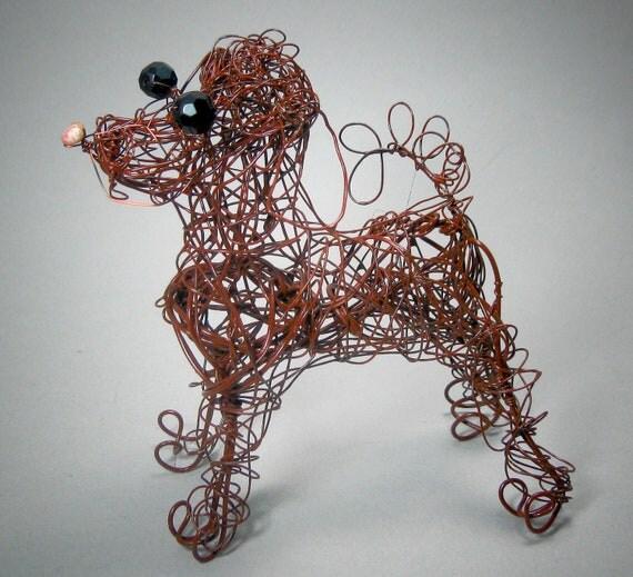 Pet dog labradoodlechocolate dog figurine wire dog statue for Dog wire art