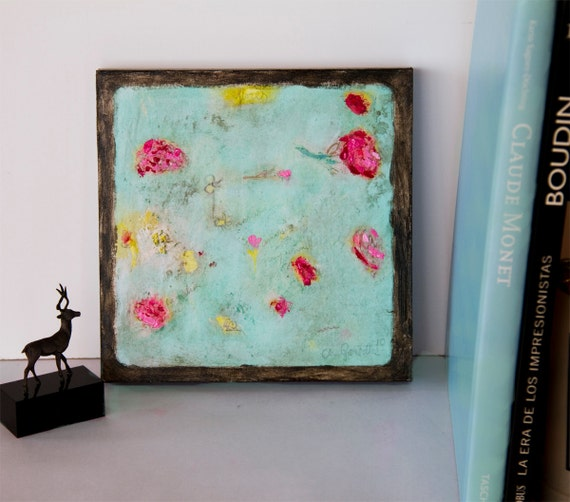 Art Print giclee on cradled wood 8x8 still life, mixed media flowers pink turquoise yellow, textured details, modern wall art