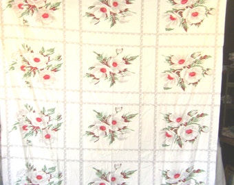 1950s Print Kitchen Table Cloth - Summer Hibicaus